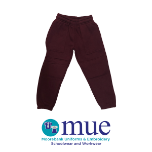 Maroon Track Pants with Elastic Leg and Double Knee