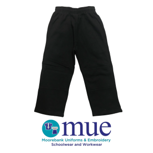 Black Straight Leg Double Knee Trackpants
