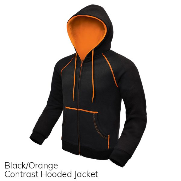 Black & Orange Contrast Hooded Jacket