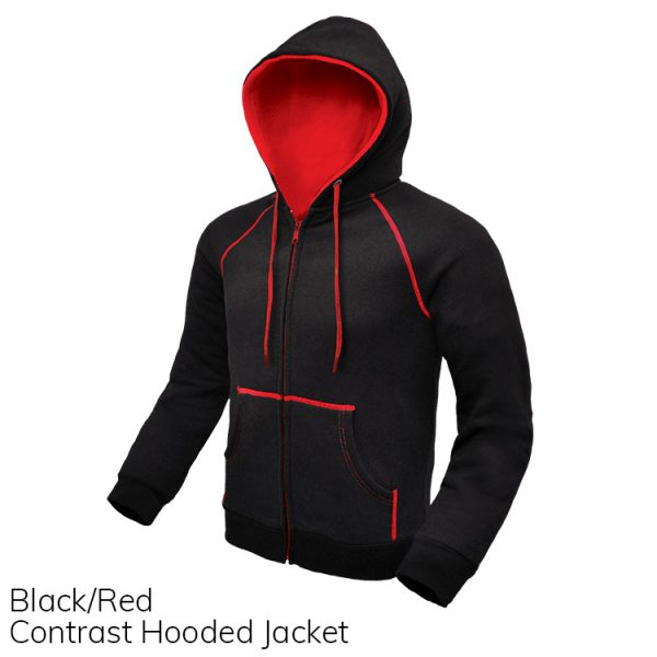Black & Red Contrast Hooded Jacket