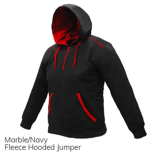 Black & Red Fleece Hooded Jumper