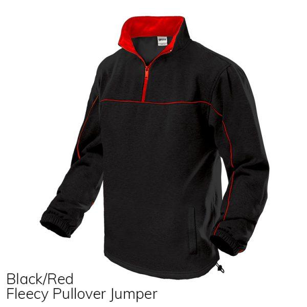 Black & Red Fleece Pull Over Jumper
