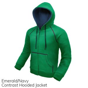 Emerald & Navy Contrast Hooded Jacket