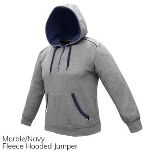 Marble & Navy Fleece Hooded Jumper