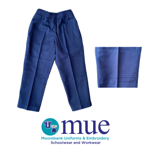 Navy Gaberdine Full Elastic Waist Double Knee Trousers