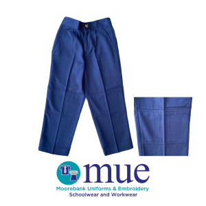 Navy Gaberdine Half Elastic Waist Double Knee Trousers