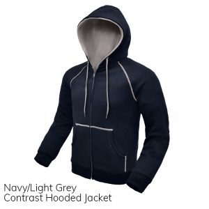 Navy & Light Grey Contrast Hooded Jacket