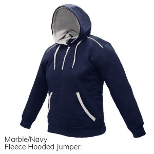 Navy & White Fleece Hooded Jumper