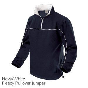 Navy & White Fleece Pull Over Jumper