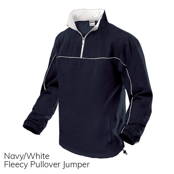Navy & White Fleece Pull Over Jumper