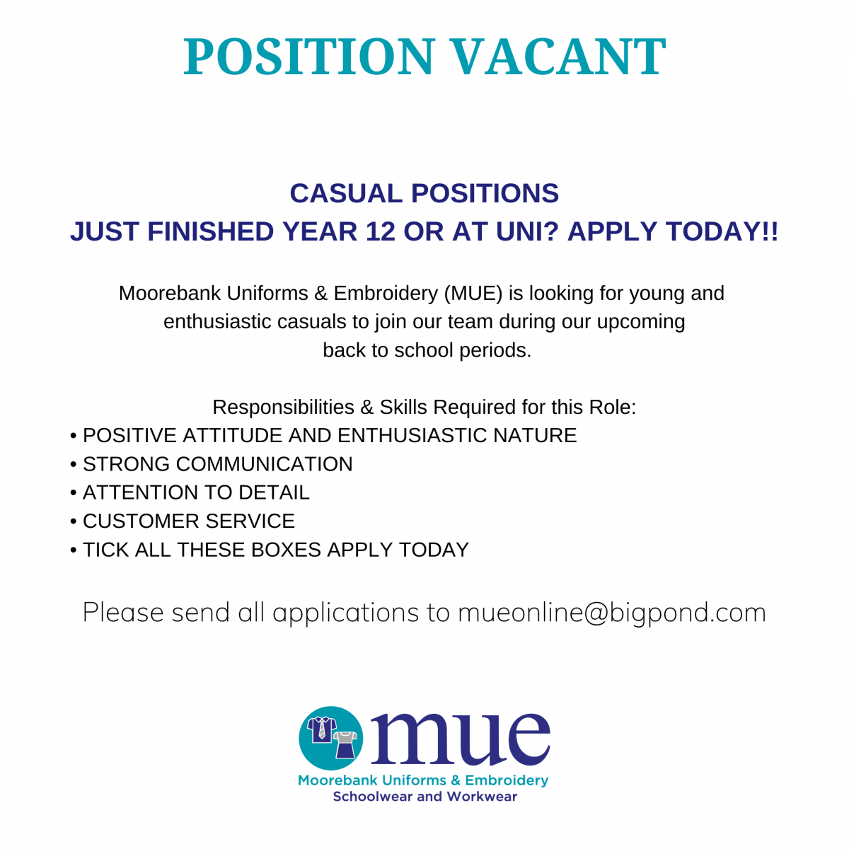 Casual Positions Vacant